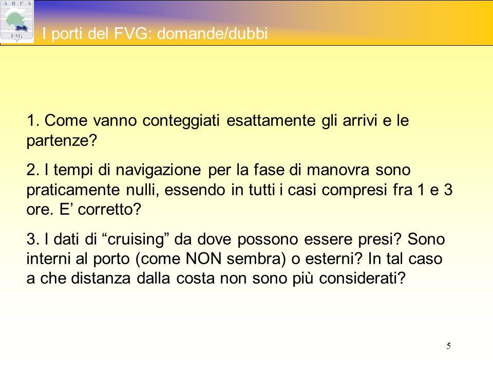 5 I porti del FVG: domande/dubbi 1. Come vanno conteggiati esattamente gli arrivi e le partenze.