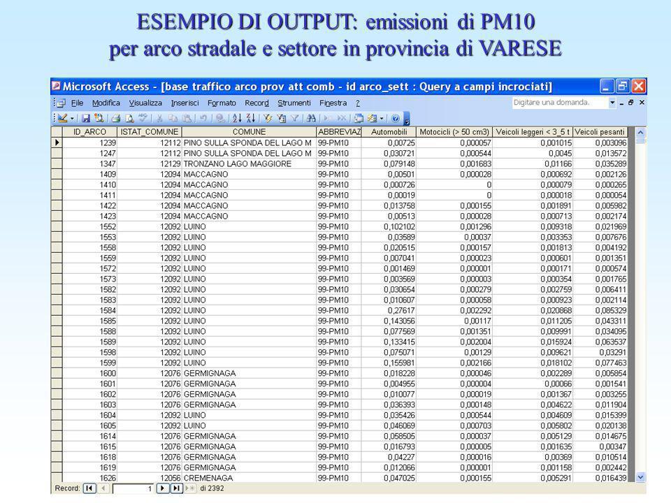 ESEMPIO DI OUTPUT: emissioni di PM10 per arco stradale e settore in provincia di VARESE