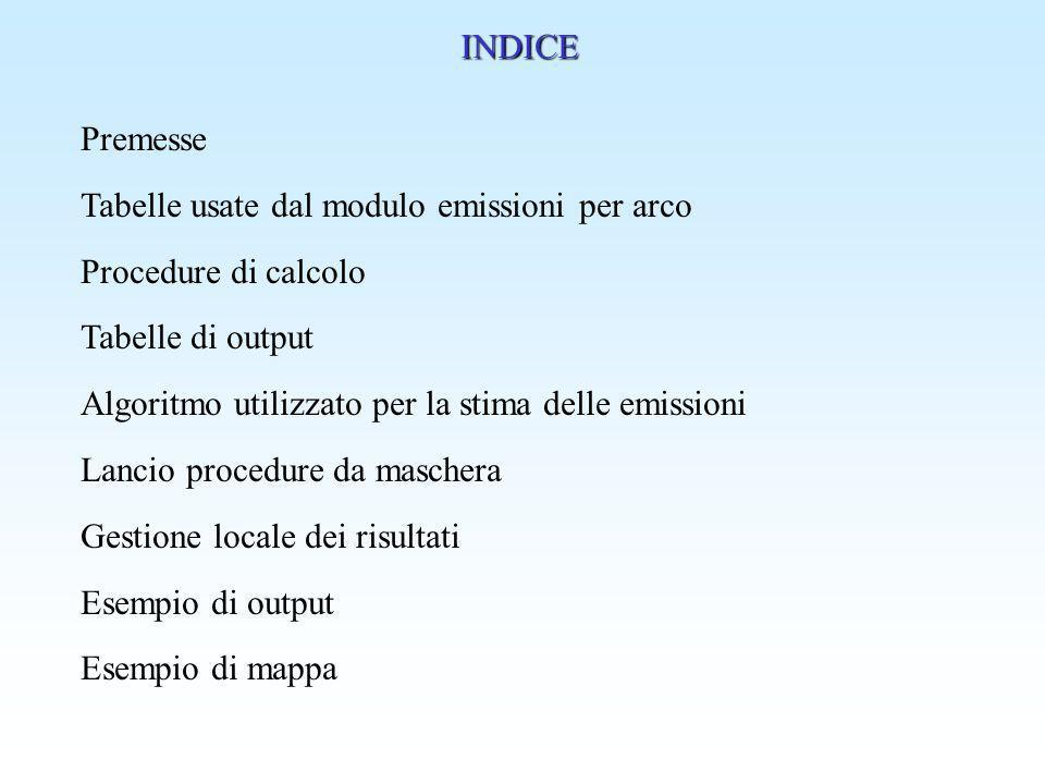 INDICE Premesse Tabelle usate dal modulo emissioni per arco Procedure di calcolo Tabelle di output Algoritmo utilizzato per la stima delle emissioni L