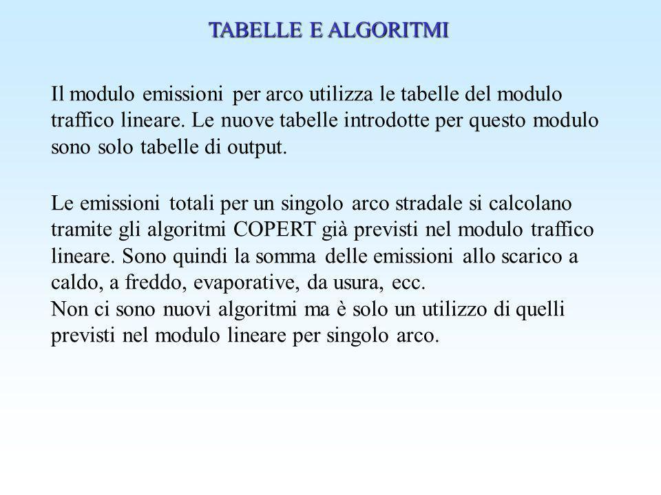 TABELLE E ALGORITMI Il modulo emissioni per arco utilizza le tabelle del modulo traffico lineare. Le nuove tabelle introdotte per questo modulo sono s