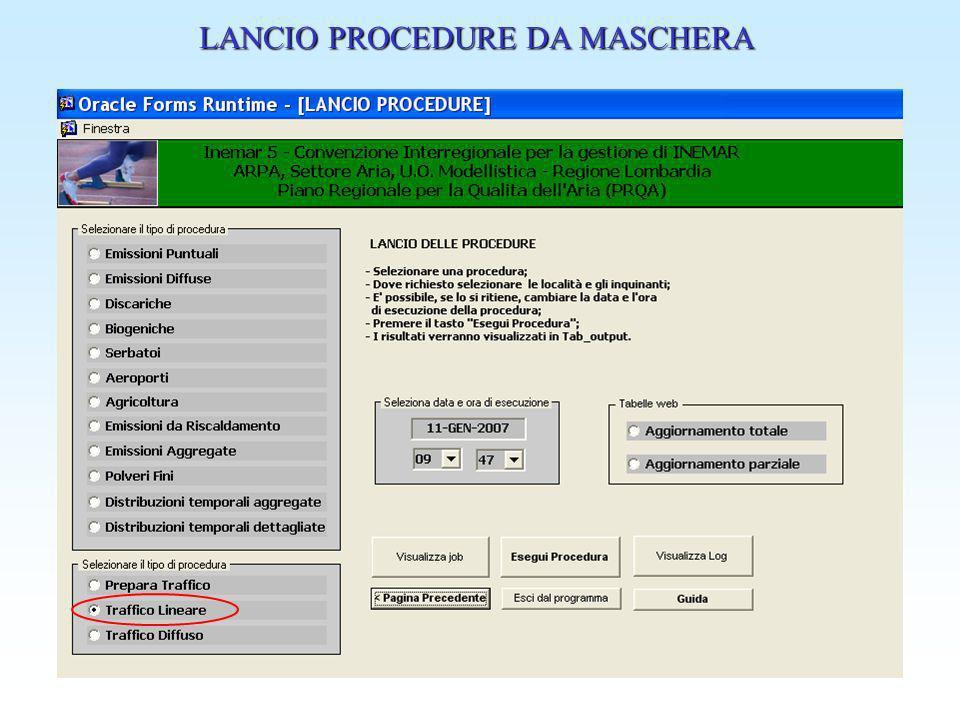 LANCIO PROCEDURE DA MASCHERA
