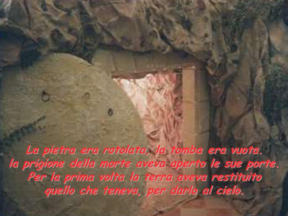 La pietra era rotolata, la tomba era vuota. la prigione della morte aveva aperto le sue porte. Per la prima volta la terra aveva restituito quello che