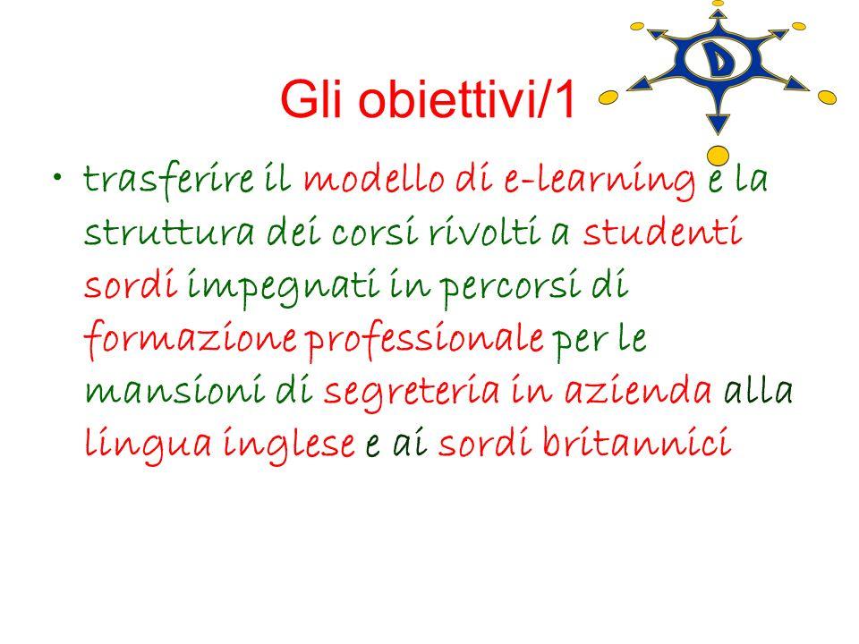 Gli obiettivi/1 trasferire il modello di e-learning e la struttura dei corsi rivolti a studenti sordi impegnati in percorsi di formazione professional