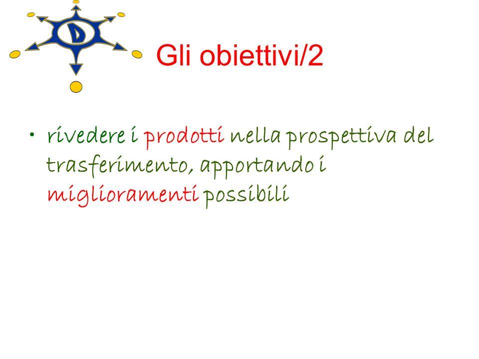 Gli obiettivi/2 rivedere i prodotti nella prospettiva del trasferimento, apportando i miglioramenti possibili