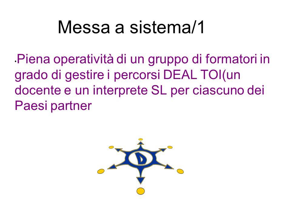 Messa a sistema/1 Piena operatività di un gruppo di formatori in grado di gestire i percorsi DEAL TOI(un docente e un interprete SL per ciascuno dei P