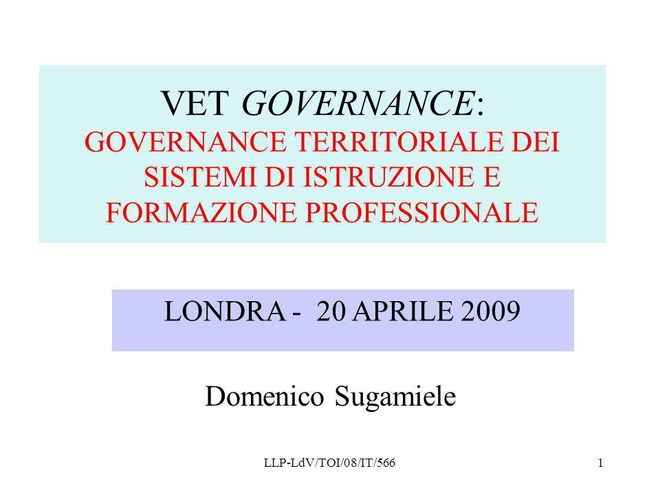 LLP-LdV/TOI/08/IT/5661 VET GOVERNANCE: GOVERNANCE TERRITORIALE DEI SISTEMI DI ISTRUZIONE E FORMAZIONE PROFESSIONALE Domenico Sugamiele LONDRA - 20 APR