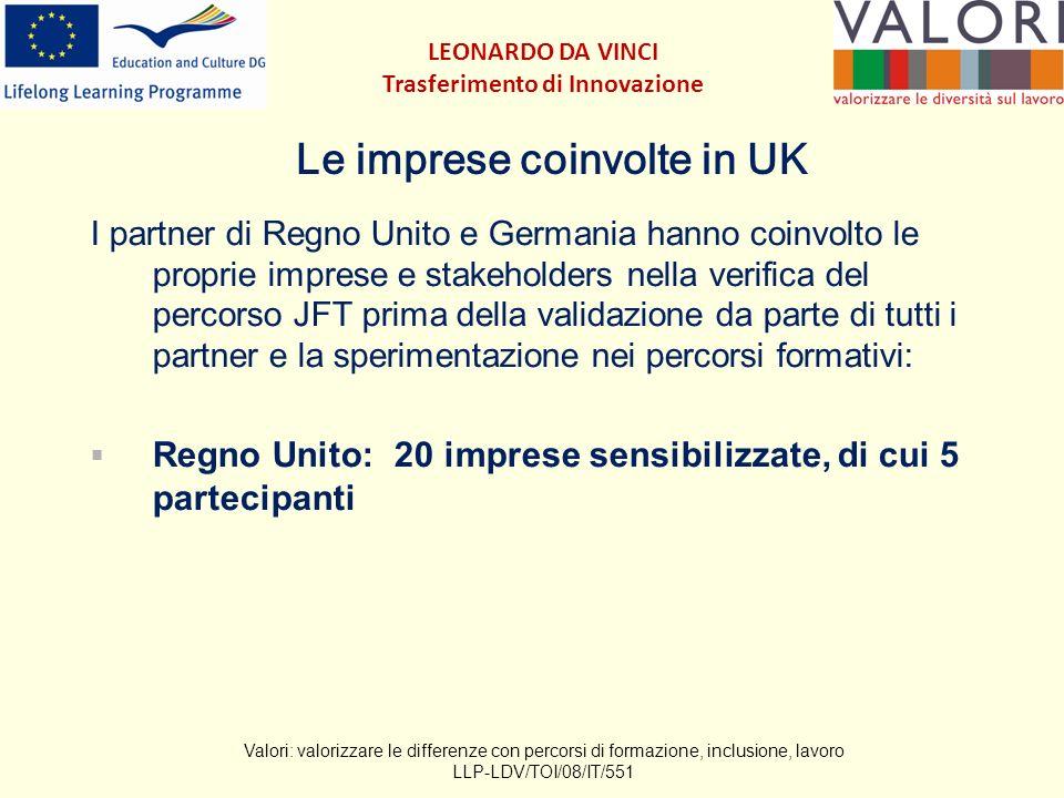 Le imprese coinvolte in UK I partner di Regno Unito e Germania hanno coinvolto le proprie imprese e stakeholders nella verifica del percorso JFT prima della validazione da parte di tutti i partner e la sperimentazione nei percorsi formativi: Regno Unito: 20 imprese sensibilizzate, di cui 5 partecipanti Valori: valorizzare le differenze con percorsi di formazione, inclusione, lavoro LLP-LDV/TOI/08/IT/551 LEONARDO DA VINCI Trasferimento di Innovazione