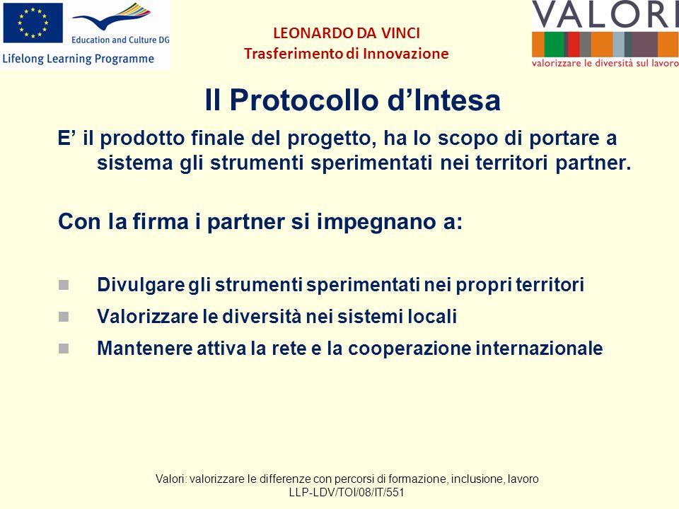 Il Protocollo dIntesa E il prodotto finale del progetto, ha lo scopo di portare a sistema gli strumenti sperimentati nei territori partner.