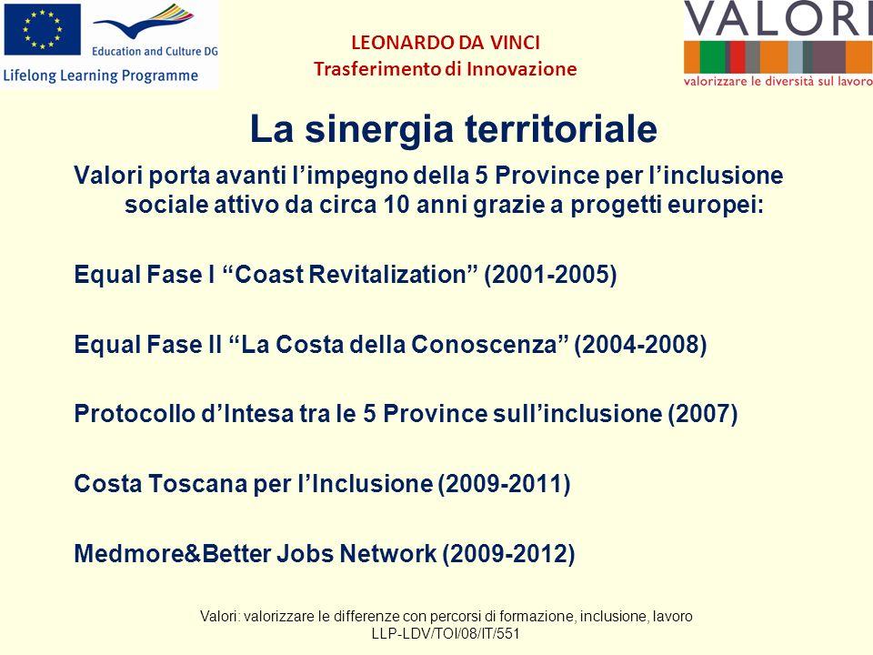 La sinergia territoriale Valori porta avanti limpegno della 5 Province per linclusione sociale attivo da circa 10 anni grazie a progetti europei: Equal Fase I Coast Revitalization (2001-2005) Equal Fase II La Costa della Conoscenza (2004-2008) Protocollo dIntesa tra le 5 Province sullinclusione (2007) Costa Toscana per lInclusione (2009-2011) Medmore&Better Jobs Network (2009-2012) Valori: valorizzare le differenze con percorsi di formazione, inclusione, lavoro LLP-LDV/TOI/08/IT/551 LEONARDO DA VINCI Trasferimento di Innovazione