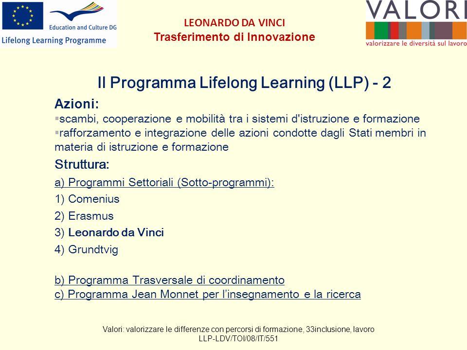 Il Programma Lifelong Learning (LLP) - 2 Azioni: scambi, cooperazione e mobilità tra i sistemi d istruzione e formazione rafforzamento e integrazione delle azioni condotte dagli Stati membri in materia di istruzione e formazione Struttura: a) Programmi Settoriali (Sotto-programmi): 1) Comenius 2) Erasmus 3) Leonardo da Vinci 4) Grundtvig b) Programma Trasversale di coordinamento c) Programma Jean Monnet per linsegnamento e la ricerca Valori: valorizzare le differenze con percorsi di formazione, 33inclusione, lavoro LLP-LDV/TOI/08/IT/551 LEONARDO DA VINCI Trasferimento di Innovazione