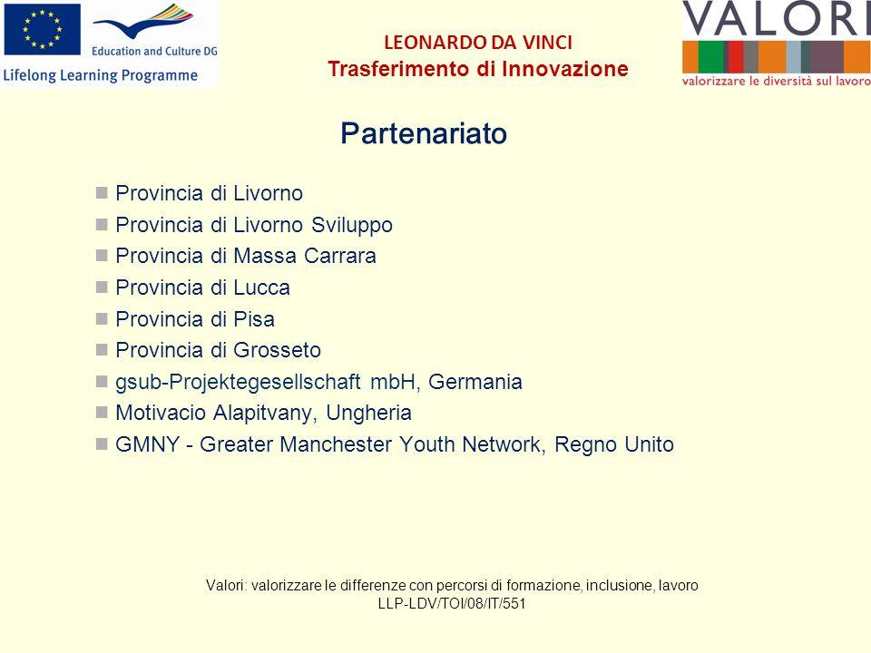I 5 gruppi aula in Italia - 3 Avanzamento dei 5 percorsi formativi: Grosseto: iniziato il 28.10.09, concluso a luglio 2010 Livorno: iniziato il 29.10.09, concluso ad agosto 2010 Pisa: iniziato il 24.11.09, concluso a settembre 2010 Massa Carrara: iniziato il 22.01.10, concluso a luglio 2010 Lucca: iniziato il 15.04.10, concluso a settembre 2010 Valori: valorizzare le differenze con percorsi di formazione, inclusione, lavoro LLP-LDV/TOI/08/IT/551 LEONARDO DA VINCI Trasferimento di Innovazione