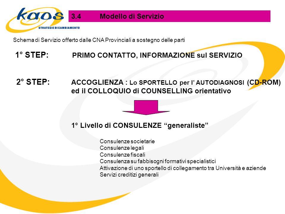 3.4Modello di Servizio Schema di Servizio offerto dalle CNA Provinciali a sostegno delle parti 1° STEP: PRIMO CONTATTO, INFORMAZIONE sul SERVIZIO 2° STEP: ACCOGLIENZA : Lo SPORTELLO per l AUTODIAGNOSI (CD-ROM) ed il COLLOQUIO di COUNSELLING orientativo 1° Livello di CONSULENZE generaliste Consulenze societarie Consulenze legali Consulenze fiscali Consulenza su fabbisogni formativi specialistici Attivazione di uno sportello di collegamento tra Università e aziende Servizi creditizi generali
