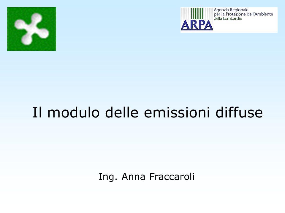 Ing. Anna Fraccaroli Il modulo delle emissioni diffuse