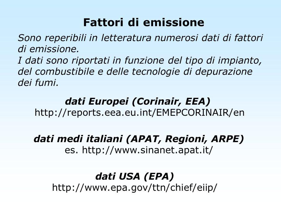 Sono reperibili in letteratura numerosi dati di fattori di emissione. I dati sono riportati in funzione del tipo di impianto, del combustibile e delle