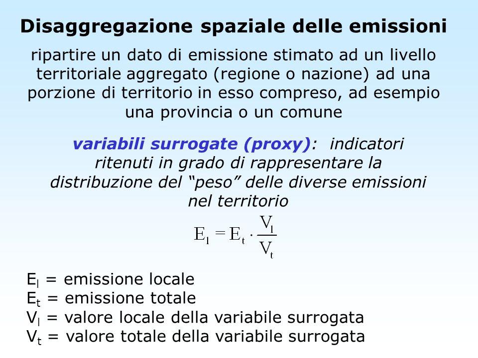 Disaggregazione spaziale delle emissioni ripartire un dato di emissione stimato ad un livello territoriale aggregato (regione o nazione) ad una porzio