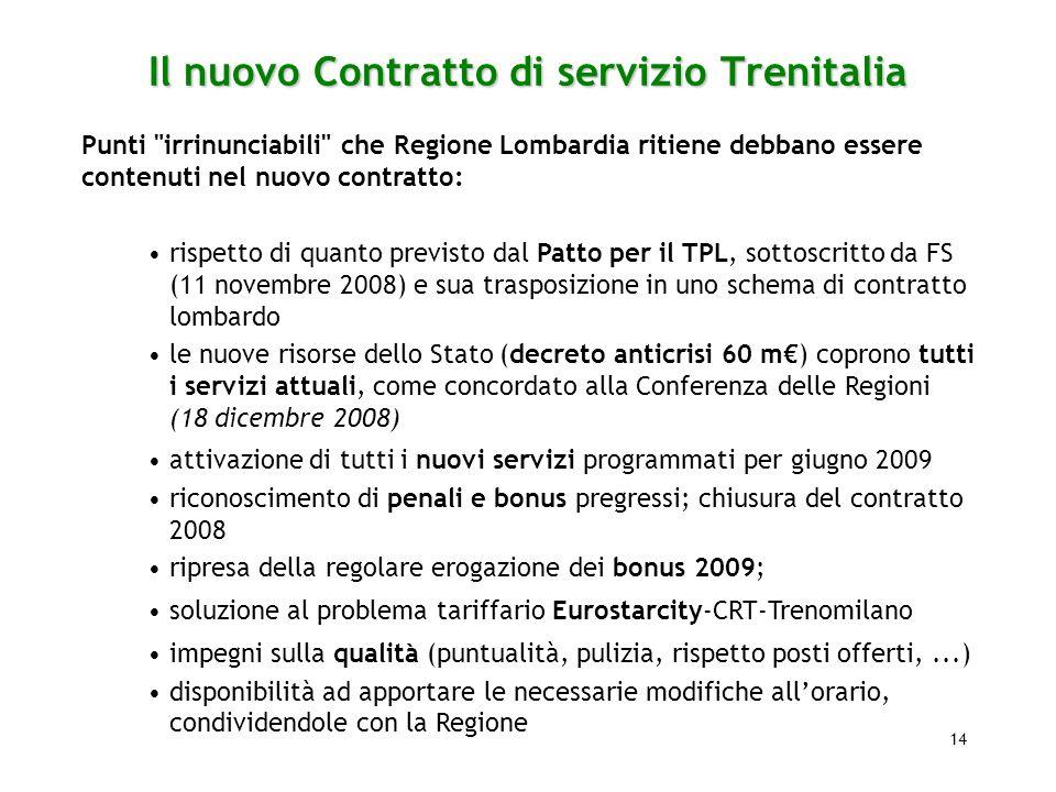14 Il nuovo Contratto di servizio Trenitalia Punti