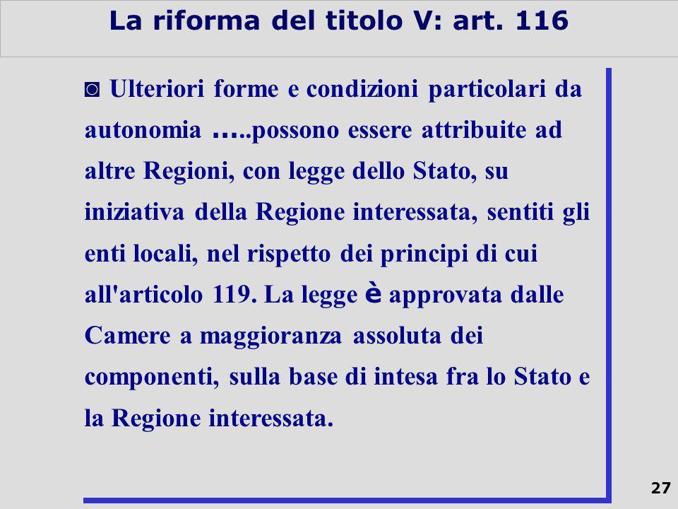 27 La riforma del titolo V: art.