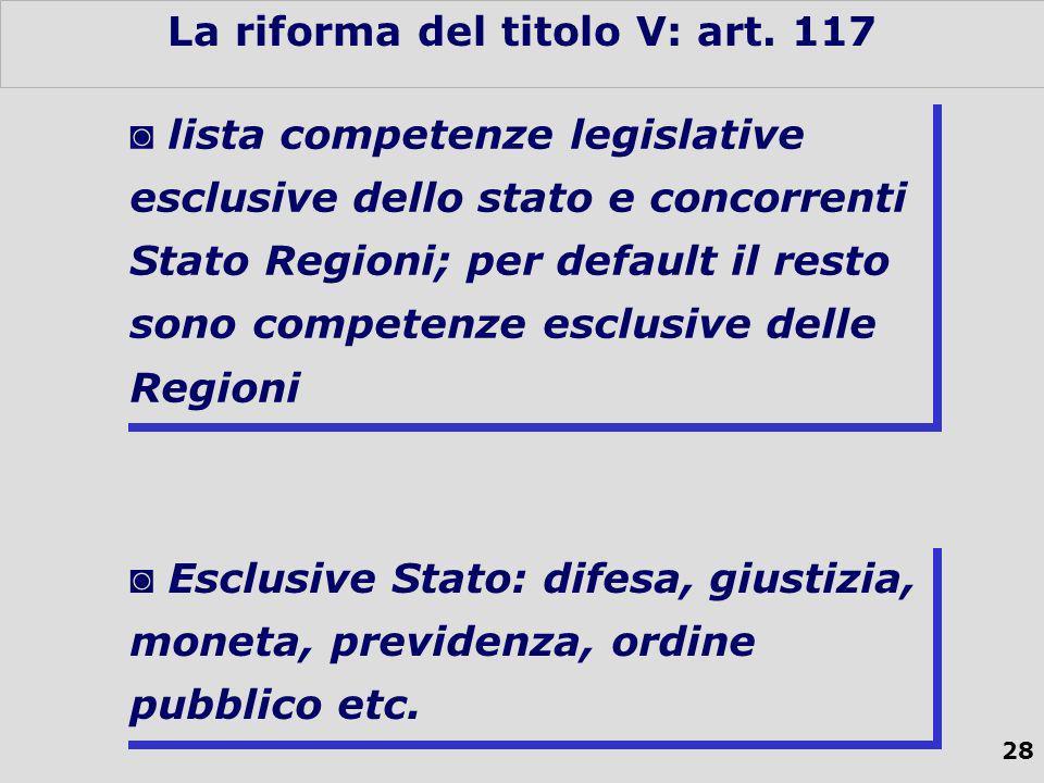 28 La riforma del titolo V: art.