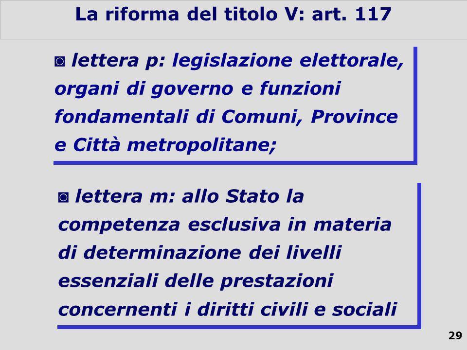 29 La riforma del titolo V: art.