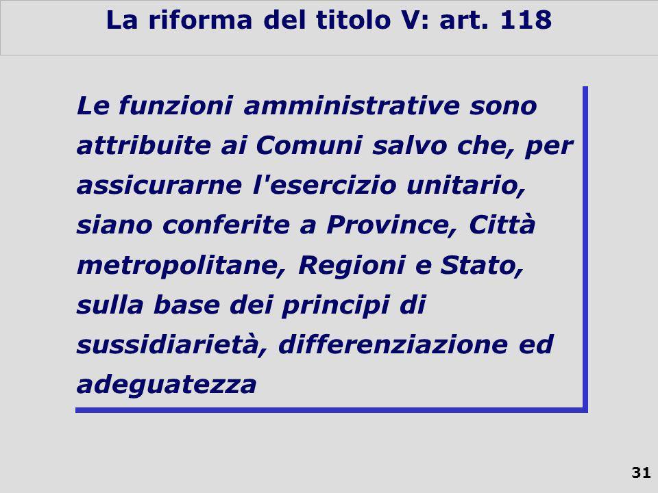 31 La riforma del titolo V: art.