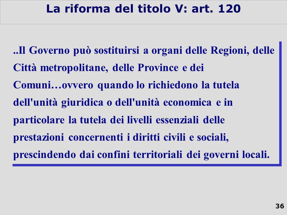 36 La riforma del titolo V: art.