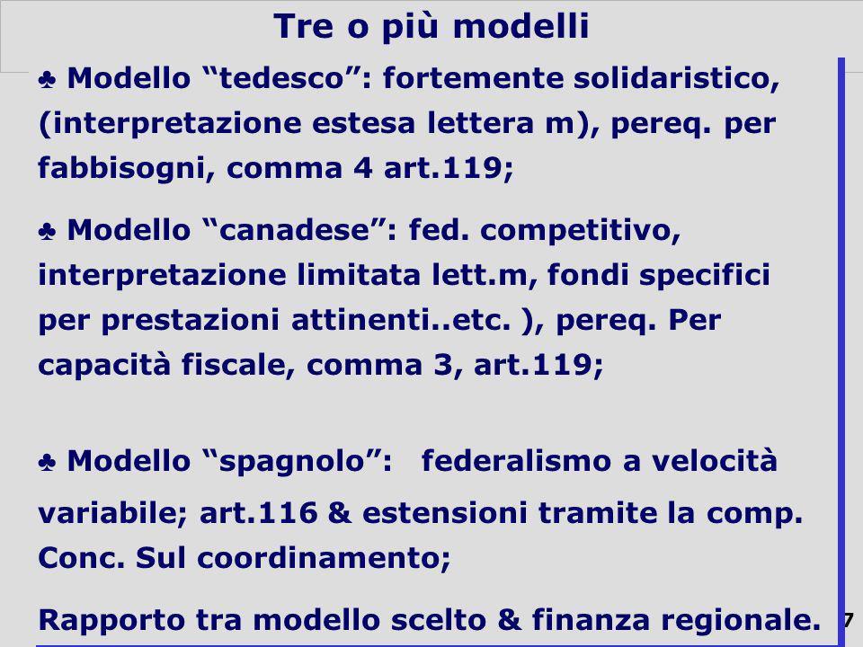 37 Tre o più modelli Modello tedesco: fortemente solidaristico, (interpretazione estesa lettera m), pereq.