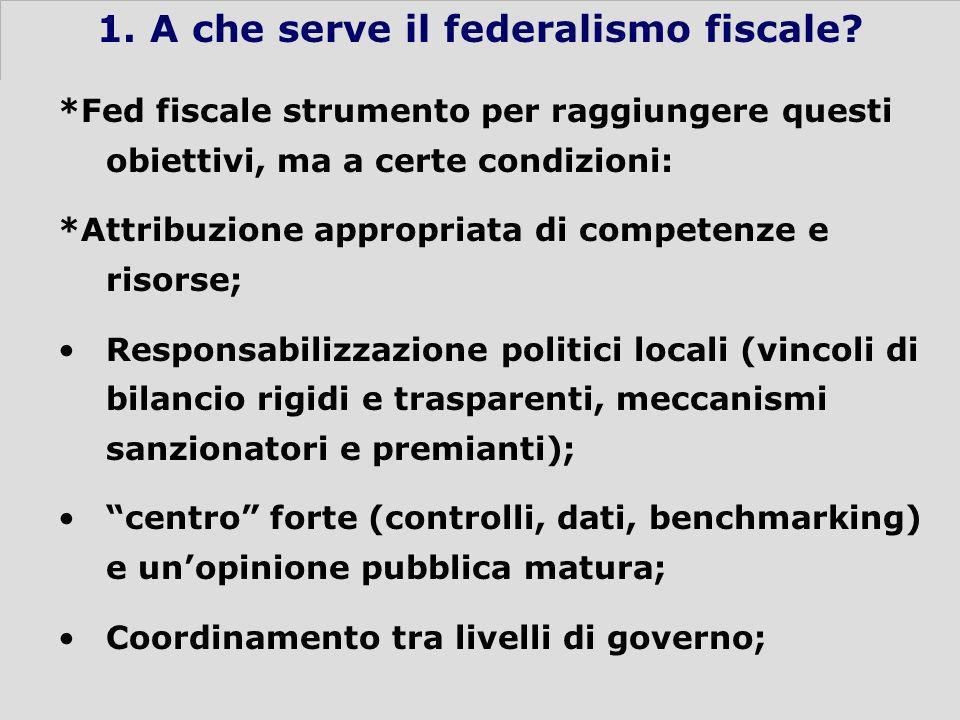 4 1. A che serve il federalismo fiscale.