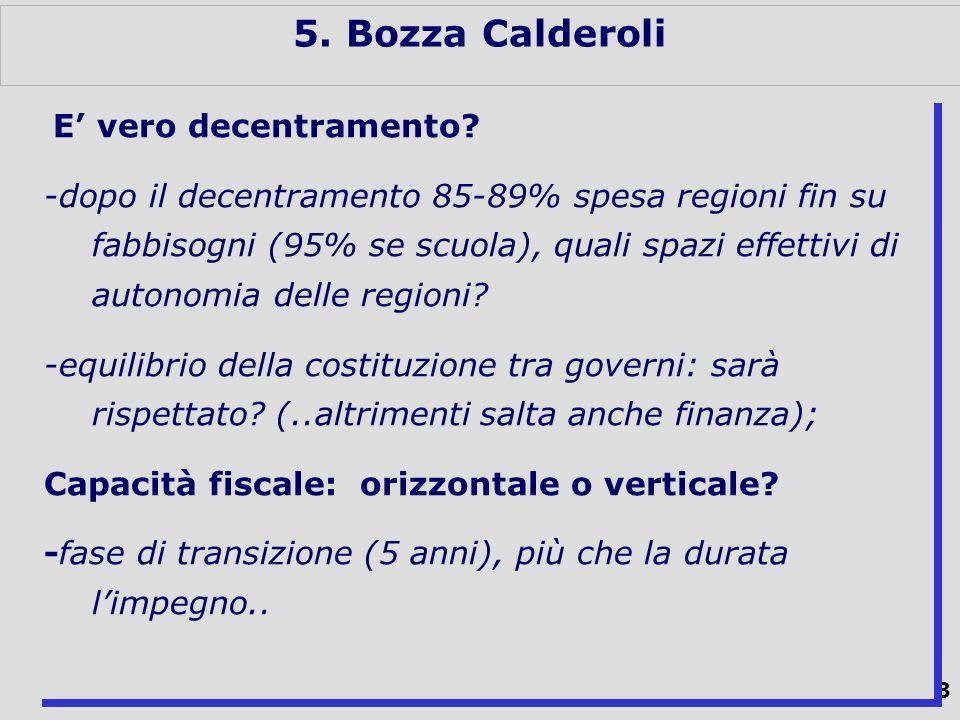 43 5. Bozza Calderoli E vero decentramento.