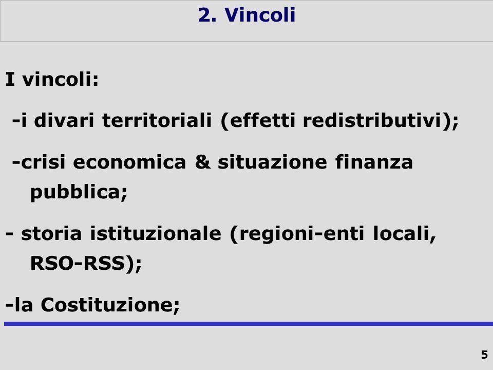 5 2. Vincoli I vincoli: -i divari territoriali (effetti redistributivi); -crisi economica & situazione finanza pubblica; - storia istituzionale (regio