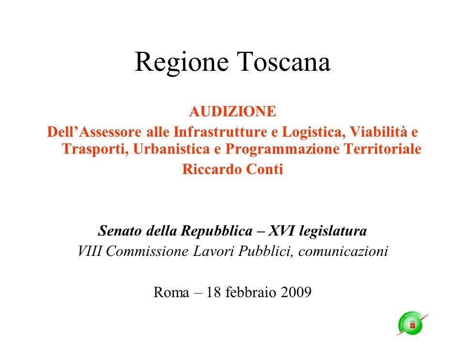 Regione Toscana AUDIZIONE DellAssessore alle Infrastrutture e Logistica, Viabilità e Trasporti, Urbanistica e Programmazione Territoriale Riccardo Con