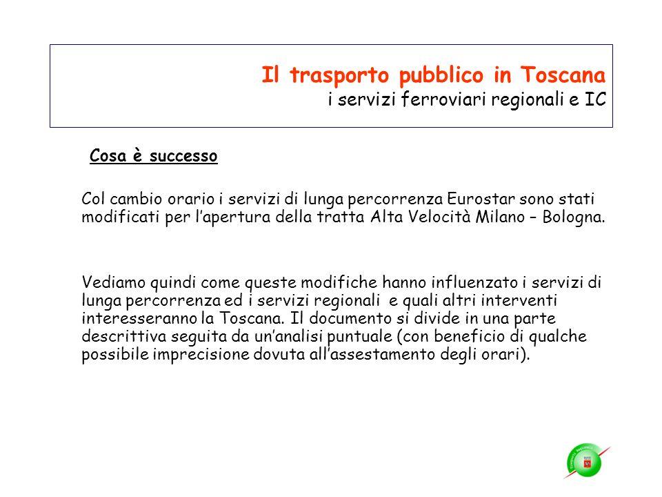Il trasporto pubblico in Toscana i servizi ferroviari regionali e IC Cosa è successo Col cambio orario i servizi di lunga percorrenza Eurostar sono st