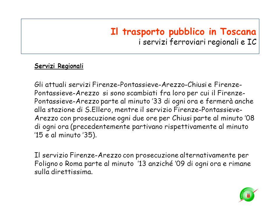 Il trasporto pubblico in Toscana i servizi ferroviari regionali e IC Servizi Regionali Gli attuali servizi Firenze-Pontassieve-Arezzo-Chiusi e Firenze