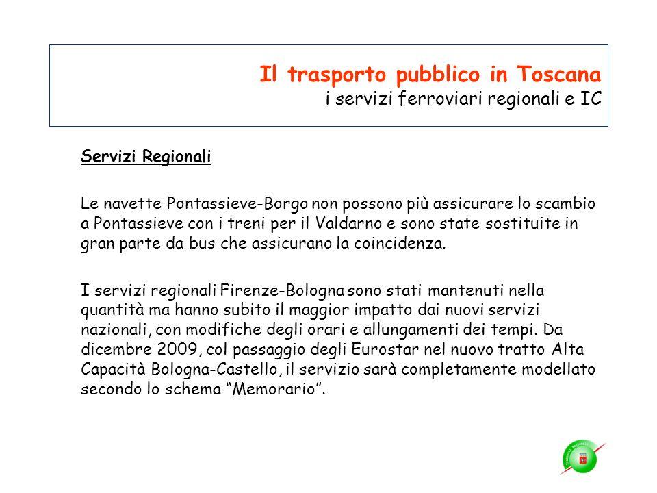 Il trasporto pubblico in Toscana i servizi ferroviari regionali e IC Servizi Regionali Le navette Pontassieve-Borgo non possono più assicurare lo scam