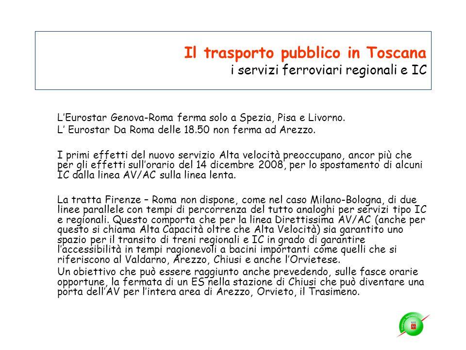 Il trasporto pubblico in Toscana i servizi ferroviari regionali e IC LEurostar Genova-Roma ferma solo a Spezia, Pisa e Livorno. L Eurostar Da Roma del