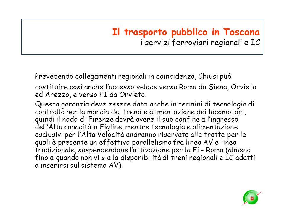 Il trasporto pubblico in Toscana i servizi ferroviari regionali e IC Prevedendo collegamenti regionali in coincidenza, Chiusi può costituire così anch