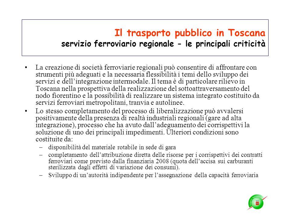 Il trasporto pubblico in Toscana servizio ferroviario regionale - le principali criticità La creazione di società ferroviarie regionali può consentire