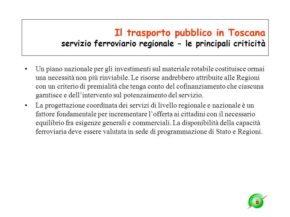 Il trasporto pubblico in Toscana servizio ferroviario regionale - le principali criticità Un piano nazionale per gli investimenti sul materiale rotabi