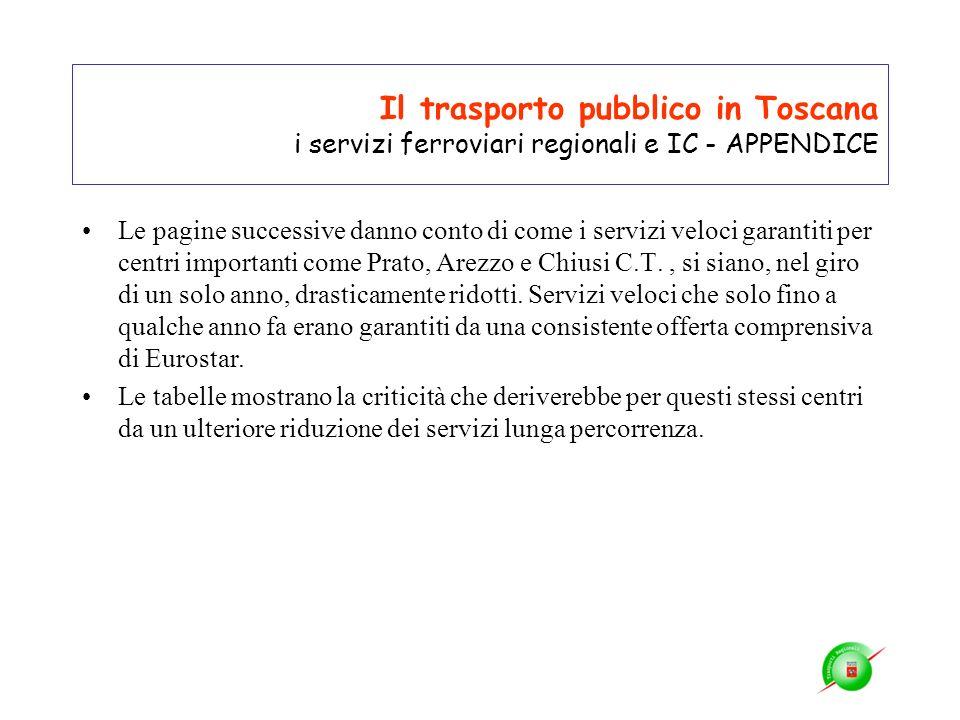 Il trasporto pubblico in Toscana i servizi ferroviari regionali e IC - APPENDICE Le pagine successive danno conto di come i servizi veloci garantiti p