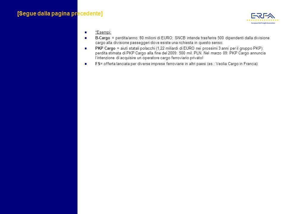 [Segue dalla pagina precedente] *Esempi: B-Cargo = perdita/anno: 80 milioni di EURO; SNCB intende trasferire 500 dipendenti dalla divisione cargo alla