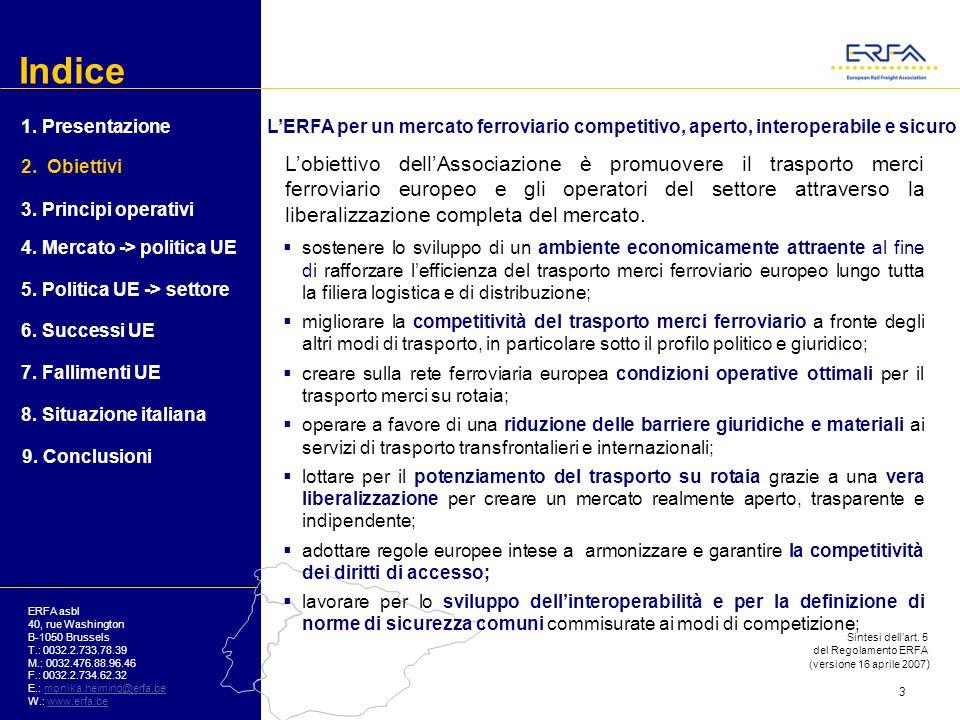 Indice ERFA asbl 40, rue Washington B-1050 Brussels T.: 0032.2.733.78.39 M.: 0032.476.88.96.46 F.: 0032.2.734.62.32 E.: monika.heiming@erfa.bemonika.heiming@erfa.be W.: www.erfa.bewww.erfa.be In Italia nessun nuovo operatore trasporto merci ferroviario 3.