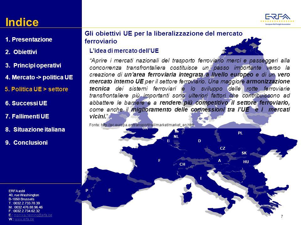 Indice ERFA asbl 40, rue Washington B-1050 Brussels T.: 0032.2.733.78.39 M.: 0032.476.88.96.46 F.: 0032.2.734.62.32 E.: monika.heiming@erfa.bemonika.heiming@erfa.be W.: www.erfa.bewww.erfa.be Gli obiettivi UE per la liberalizzazione del settore ferroviario Extract of the statement of the EU Council of 10 th June 2009: Da più di un decennio lUE sta seguendo una politica […] volta a dare nuovi impulsi al settore dei trasporti e creare un mercato ferroviario veramente europeo.