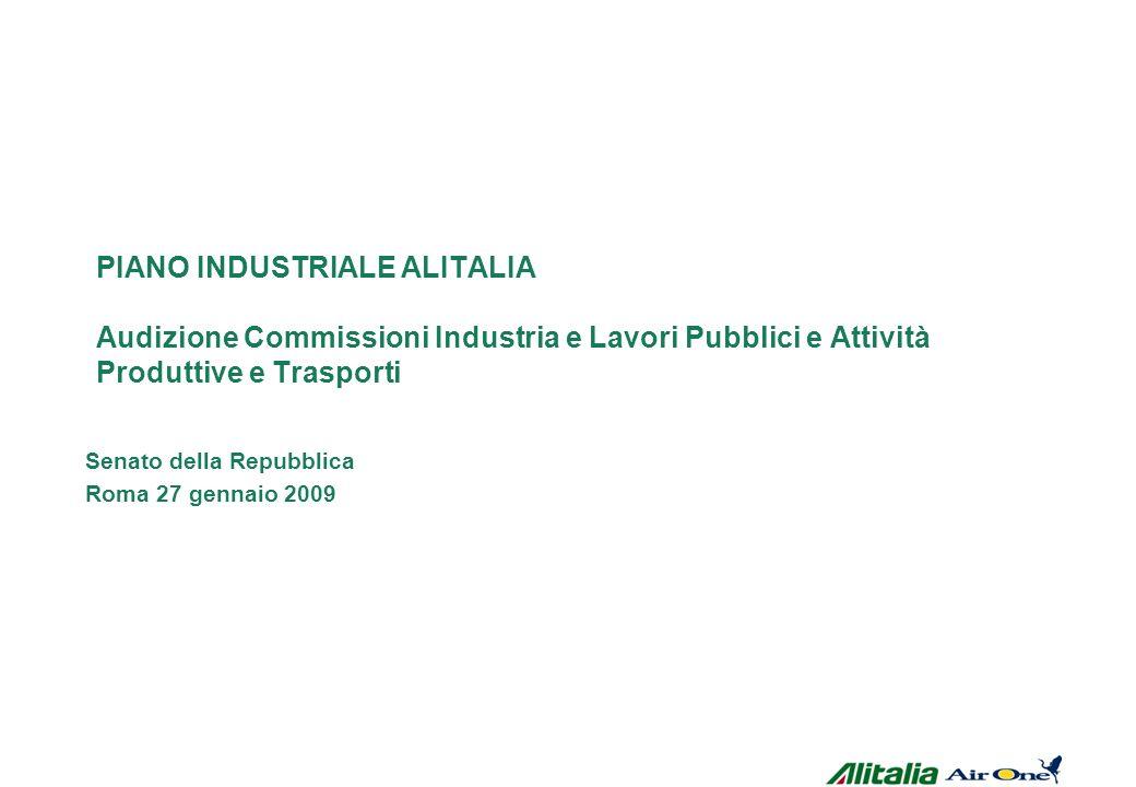 PIANO INDUSTRIALE ALITALIA Audizione Commissioni Industria e Lavori Pubblici e Attività Produttive e Trasporti Senato della Repubblica Roma 27 gennaio 2009