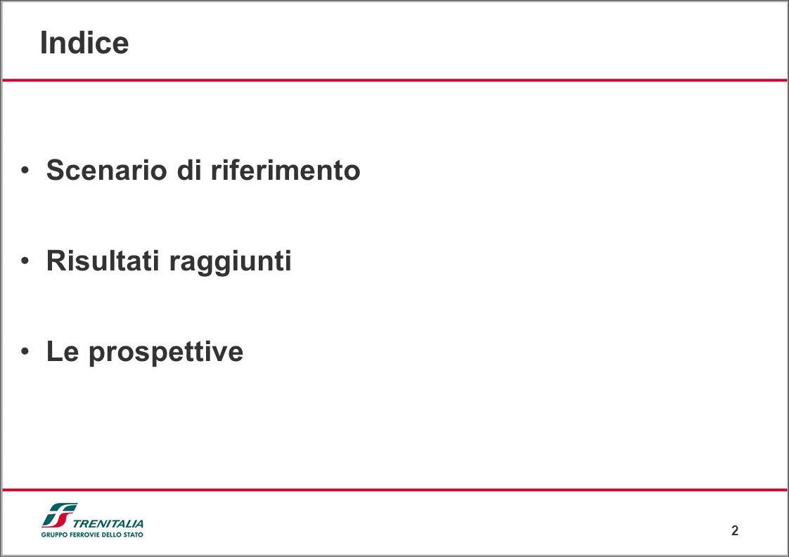 2 Indice Scenario di riferimento Risultati raggiunti Le prospettive