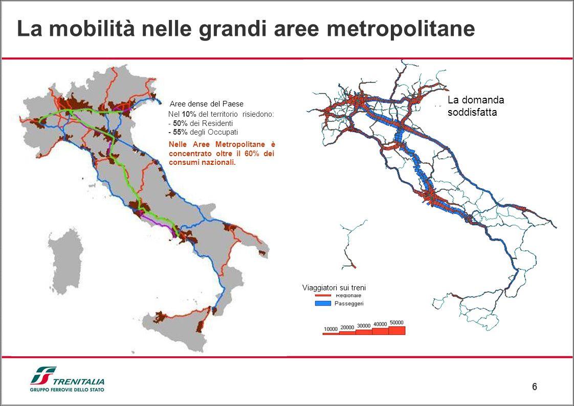 6 La mobilità nelle grandi aree metropolitane Nel 10% del territorio risiedono: - 50% dei Residenti - 55% degli Occupati Aree dense del Paese Nelle Ar