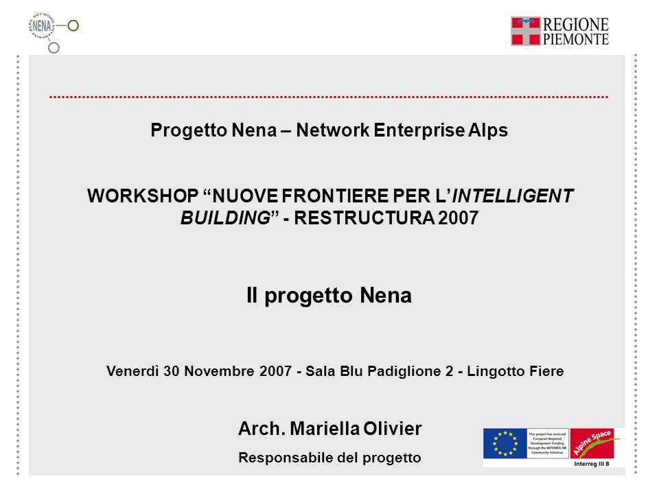 Progetto Nena – Network Enterprise Alps WORKSHOP NUOVE FRONTIERE PER LINTELLIGENT BUILDING - RESTRUCTURA 2007 Il progetto Nena Venerdì 30 Novembre 200