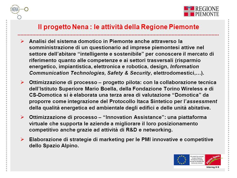 Il progetto Nena : le attività della Regione Piemonte Analisi del sistema domotico in Piemonte anche attraverso la somministrazione di un questionario