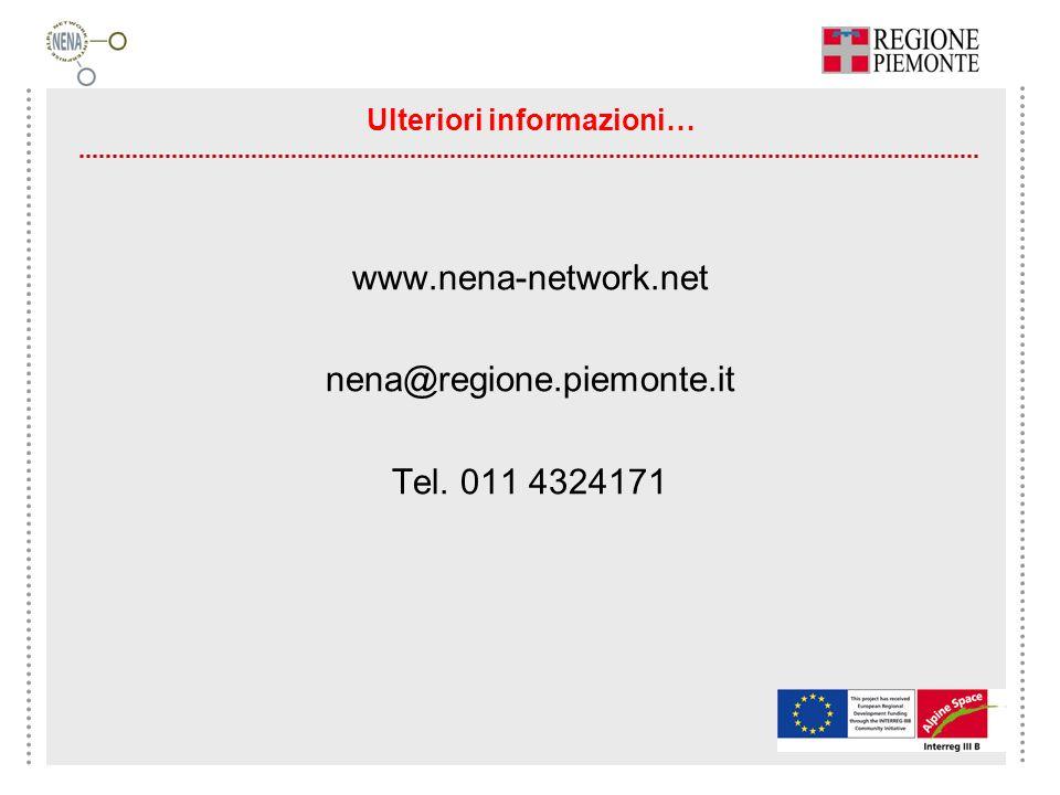Ulteriori informazioni… www.nena-network.net nena@regione.piemonte.it Tel. 011 4324171