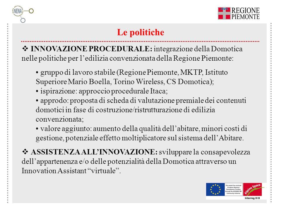 Le politiche INNOVAZIONE PROCEDURALE: integrazione della Domotica nelle politiche per ledilizia convenzionata della Regione Piemonte: gruppo di lavoro