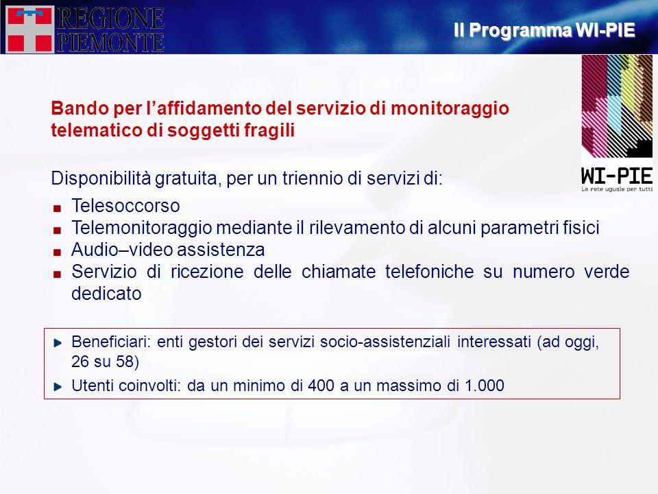 Bando per laffidamento del servizio di monitoraggio telematico di soggetti fragili Telesoccorso Telemonitoraggio mediante il rilevamento di alcuni par