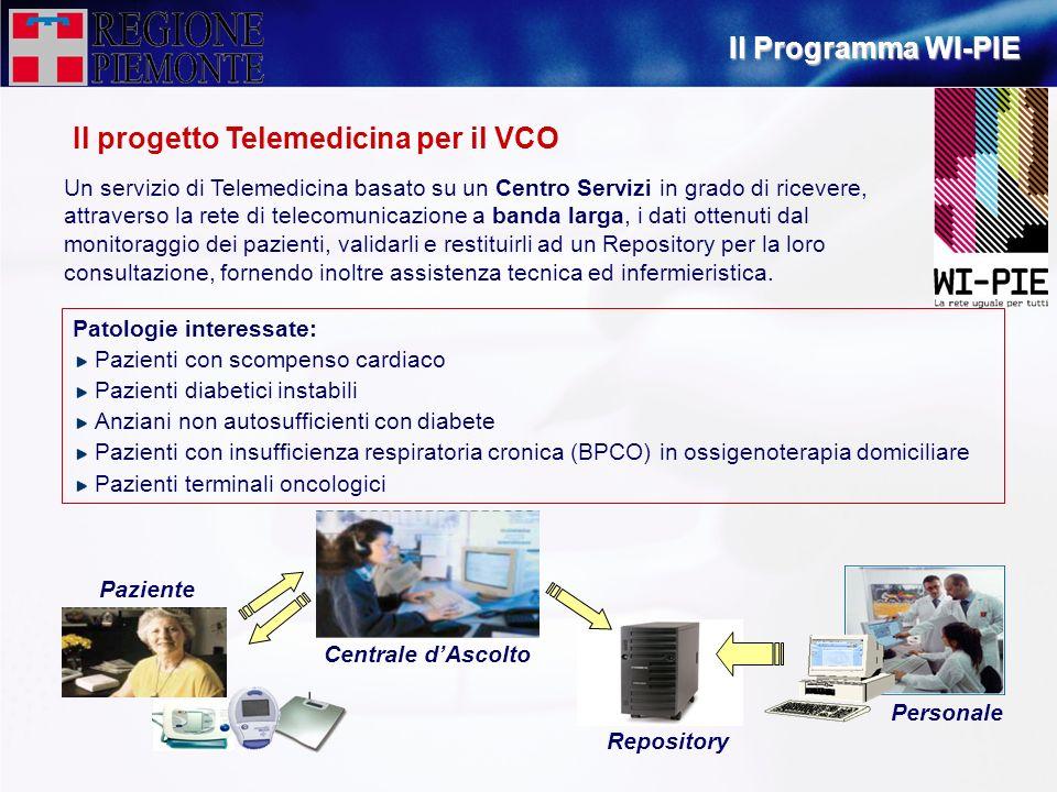 Il progetto Telemedicina per il VCO Un servizio di Telemedicina basato su un Centro Servizi in grado di ricevere, attraverso la rete di telecomunicazi